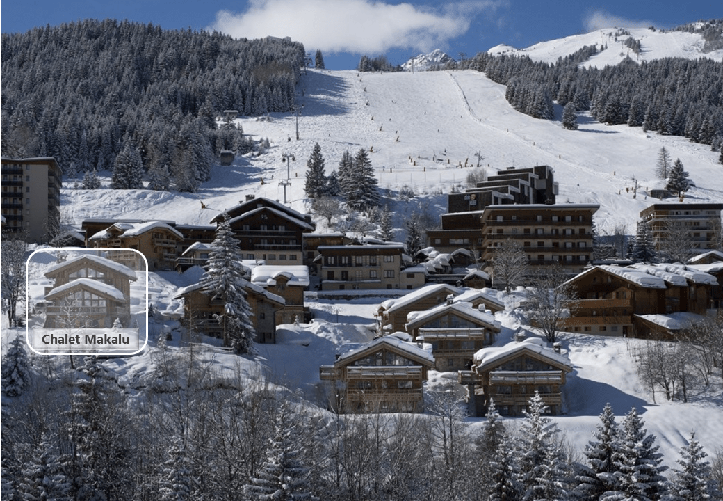 situation map of chalet makalu in courchevel village